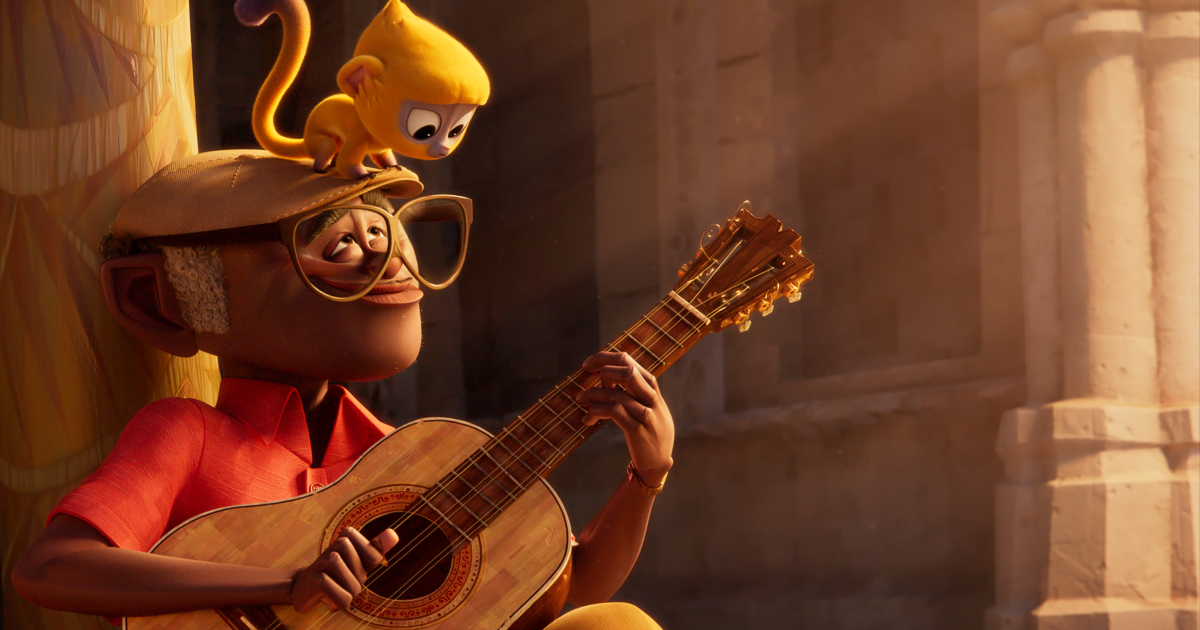 un ragazzo suona la chitarra, mentrew una scimmietta è sulla sua testa - nerdface
