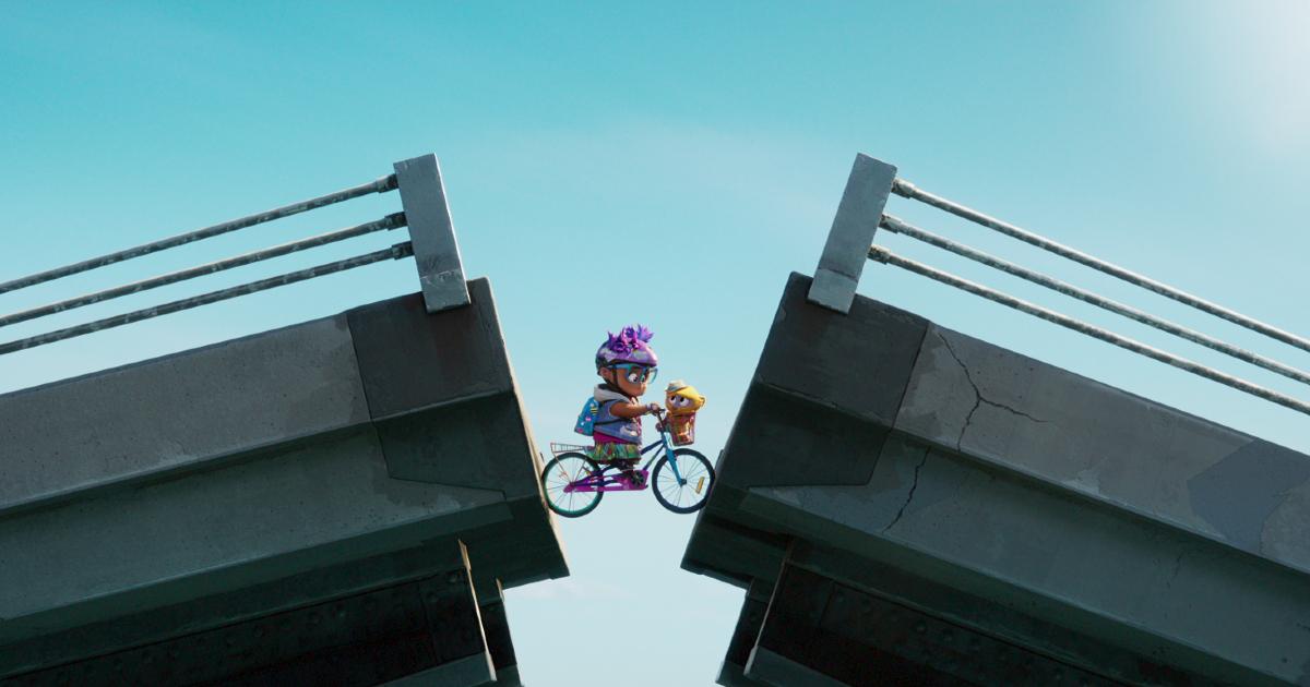una bicicletta con una scimmietta nel cestello forntale si ritrva a metà di un ponte levatoio ormai alzato - nerdface