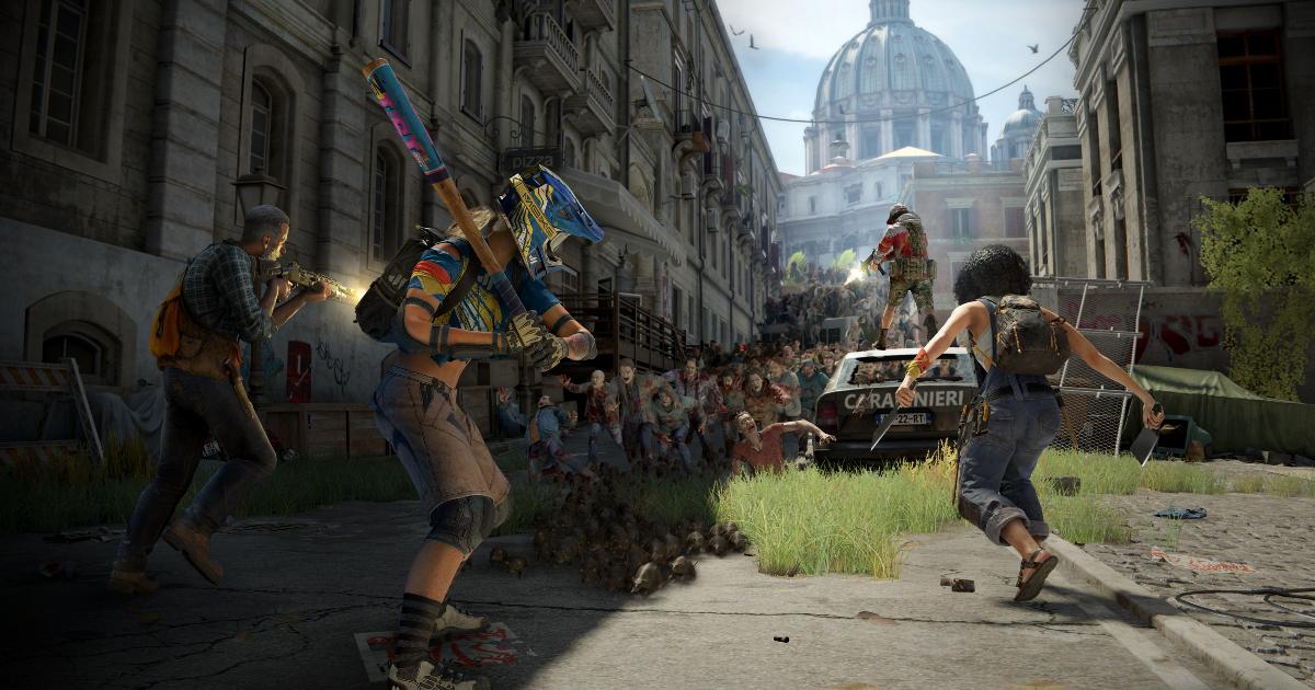 sullo sfondo di san pietro, alcuni sopravvissuti stanno per afforntare numerosi zombie - nerdface