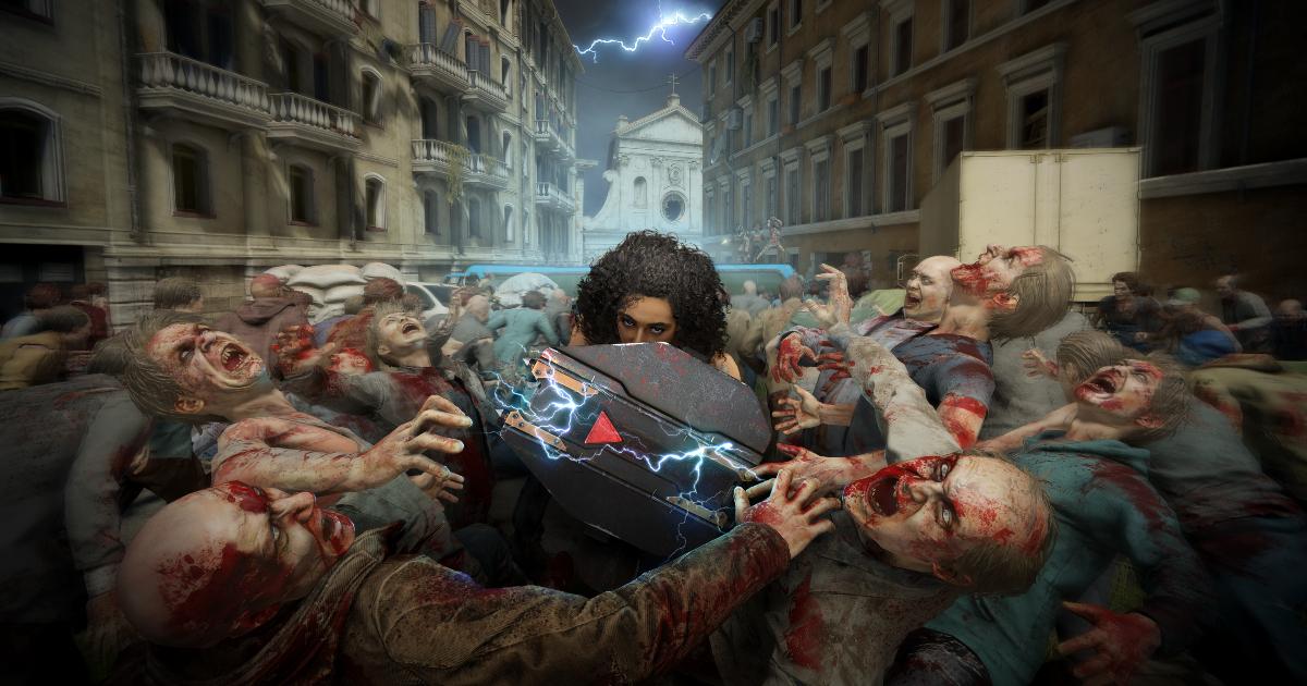 un uomo armato di scudo si fa tsrada in uno sciame di zombie - nerdface