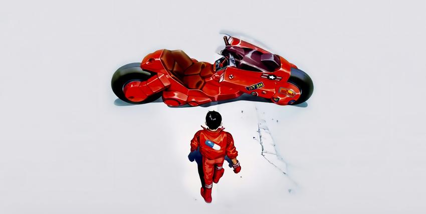 il protagonista kaneda si sta avvicinando alla sua moto rossa - nerdface