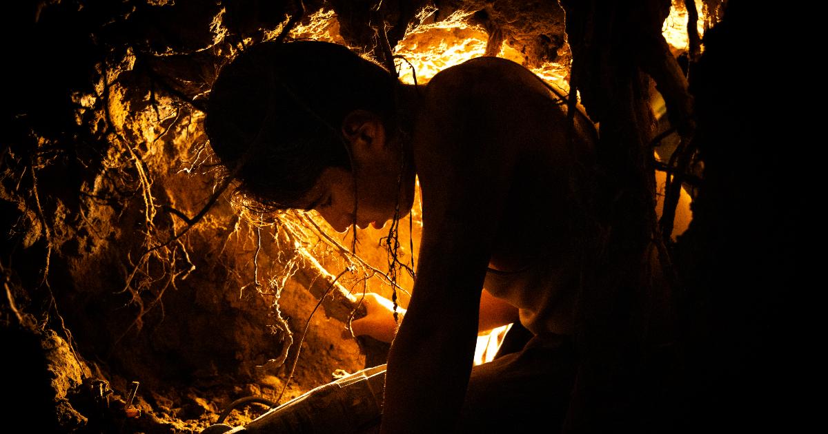 il protagonista è sottoterra, tra le radici degli alberi, cercando il tesoro - nerdface