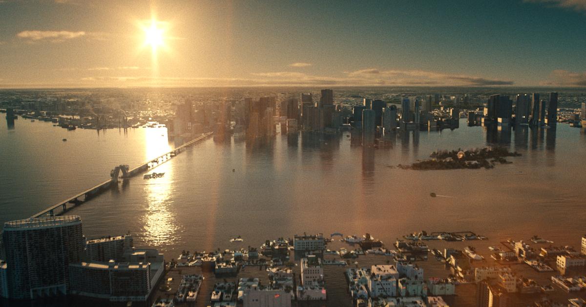 una veduta aerea all'alba di miami sommersa dalle acque - nerdface