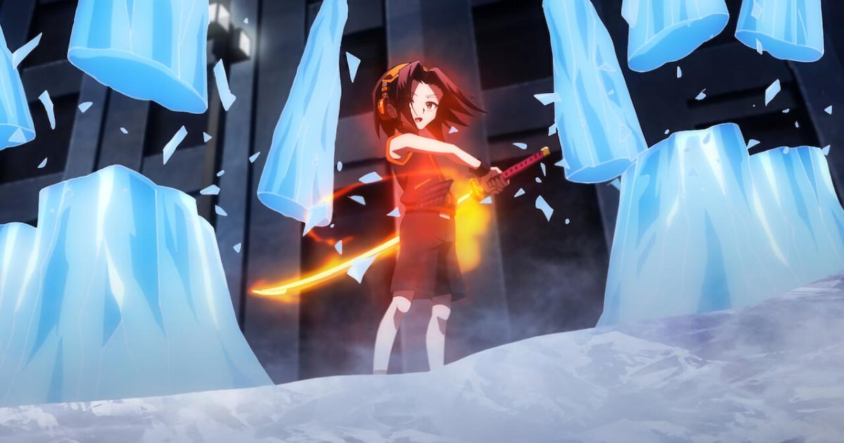 il protagonista ha fuso lo spirito con la sua spada e ha tagliato una serie di stalattiti di ghiaccio create da un nemico - nerdface