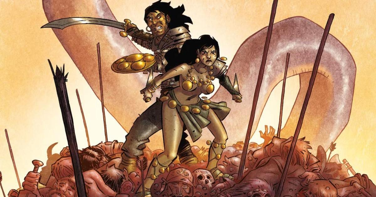 Conan combatte insieme a una sua compagna d'avventure su una pila di cadaveri