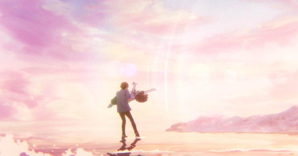 lui tiene in braccio lei sulla secca del mare, mentre il tramonto tinge di rosa ogni cosa - nerdface