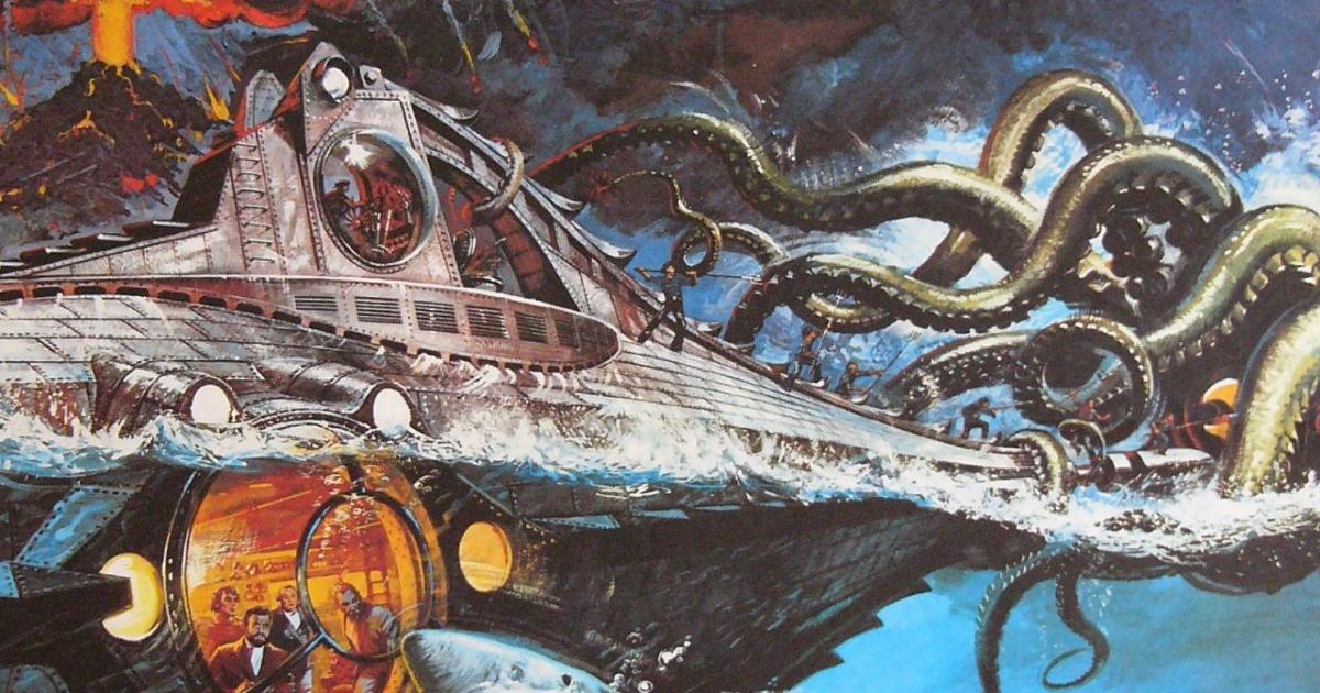 l'artwork originale di 20.000 leghe sotto i mari del 1954 mostra il sottomarino attaccato da una piovra - nerdface