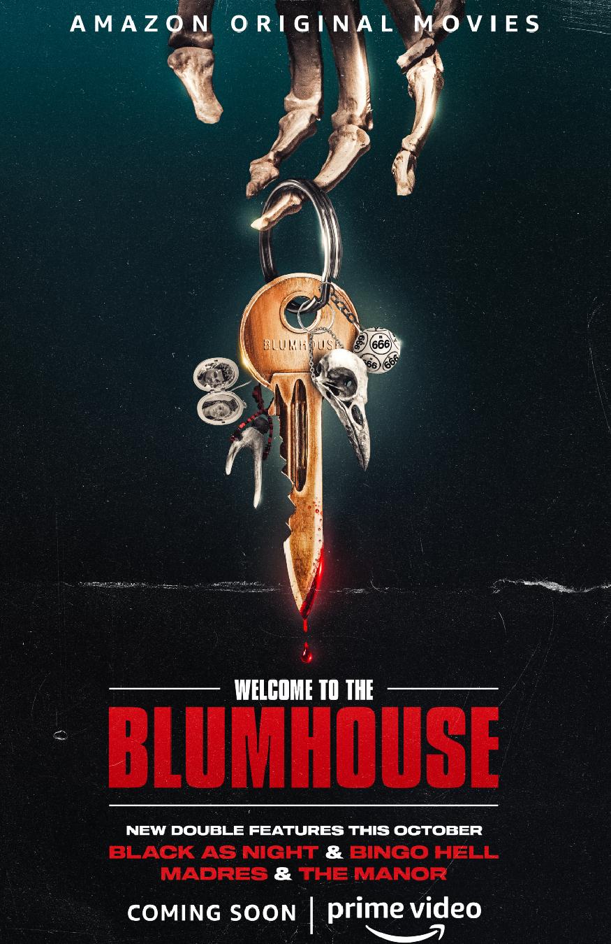 il poster ufficiale dell'edizione 2021 di welcome to the blumhouse mostra una mano di scheletro tenere un portachiavi con una chiave insanguinata - nerdface