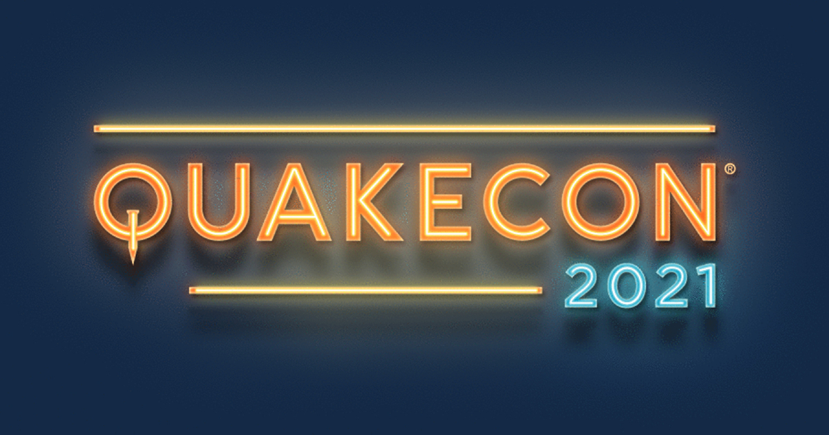 il logo del quakecon ricorda un'insegna al neon - nerdface