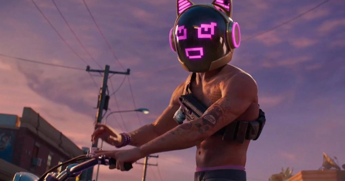 Un personaggio armato con sulla testa un casco con l'immagine di un gatto - nerdface