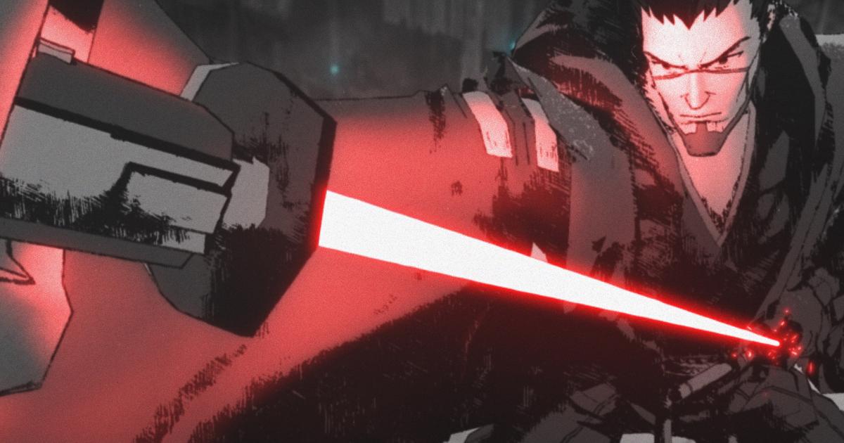 una sorta di ronin jedi affronta l'attacco di una spada laser rossa - nerdface