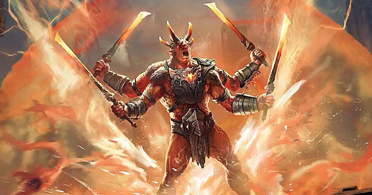 un demone a quattro braccia impugna altrettante spade infuocate - nerdface