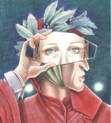 una bella illustrazione mostra dante con uno specchietto davanti agli occhi in cui appare il volto di beatrice - nerdface