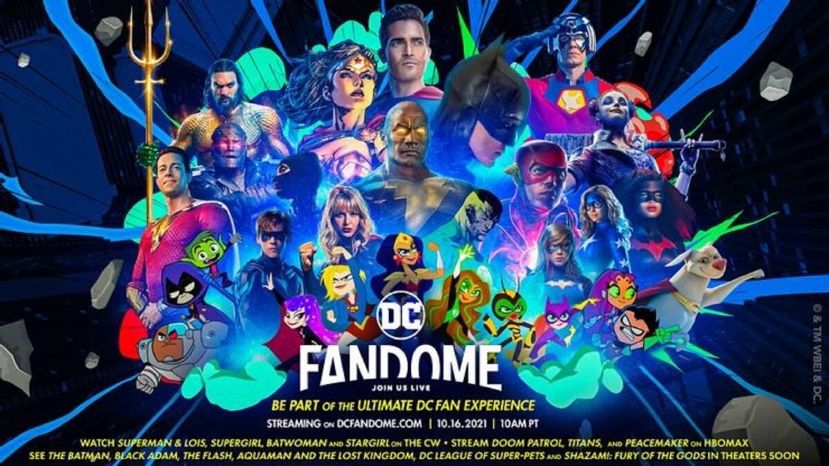 il banner ufficiale di dc fandome 2021 mostra un patchwork di eroi e cattivi - nerdface