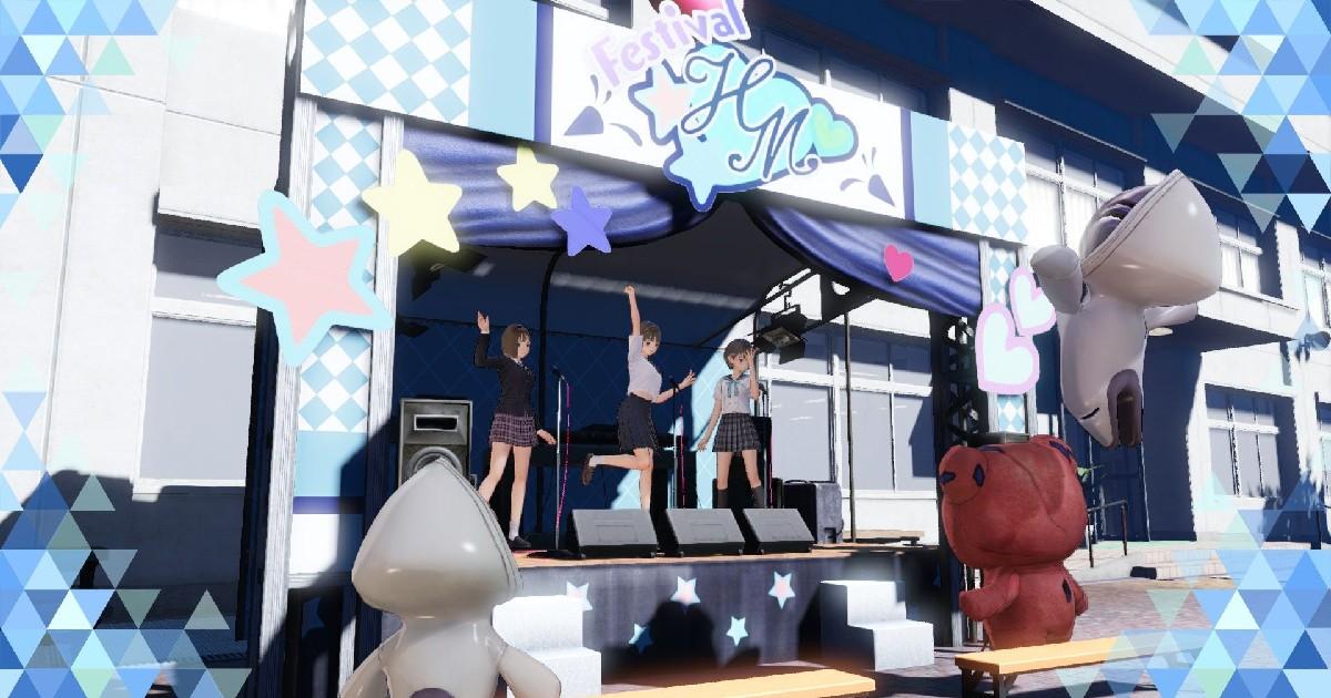 Tre ragazze di Blue Reflection: Second Light si esibiscono su un palco - nerdface