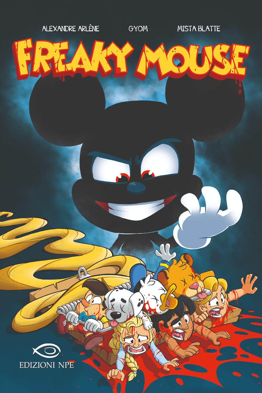 la copertina di freaky mouse mostra un diabolico topolino tutto nero che sorride mentre vede fuggire altri personaggi disney - nerdface