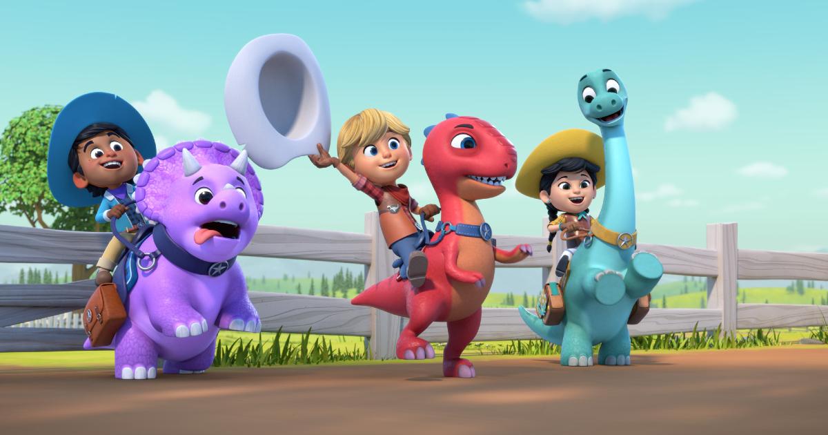 i tre piccoli protagonisti sono in sella ai loro dinosauri - nerdface