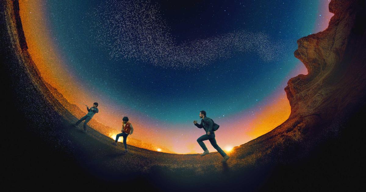 il manifesto mostra i protagonisti rincorrersi su una terra circolare - nerdface