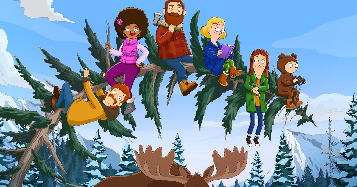 la famiglia tobin è appesa a un albero piegato, sopra le corna di un alce - nerdface