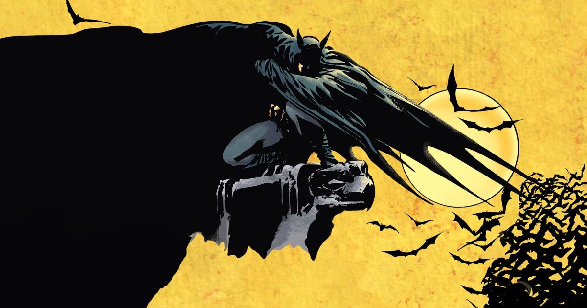 un'illustrazione di batman appollaiato su un gargoyle - nerdface