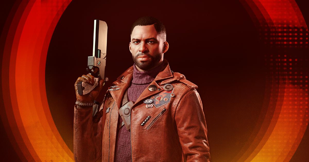 il protagonista di deathllop in una key art in cui impugna una pistola - nerdface