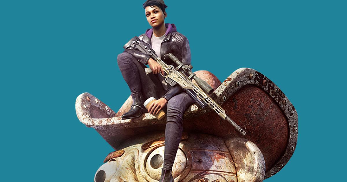 la protagonista del gioco è seduta sulla testa di una statua di cowboy e imbraccia un fucile - nerdface
