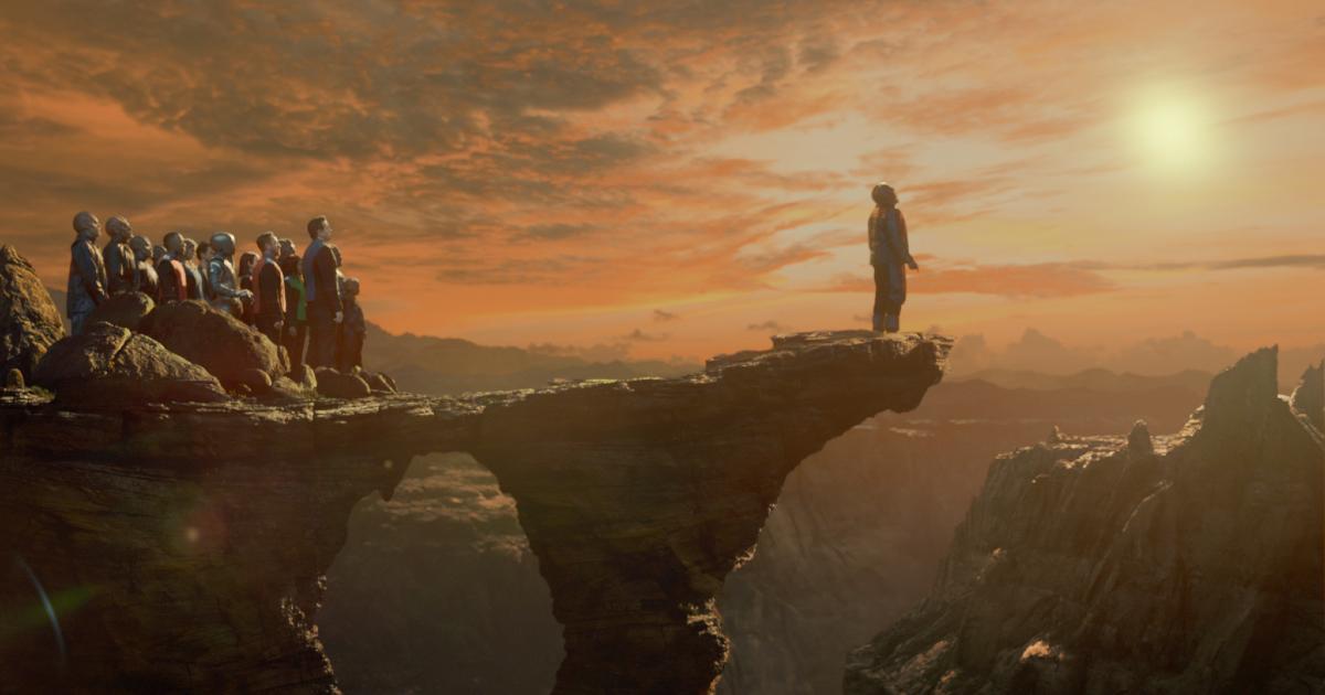 l'equipaggio e forse su un pianeta alieno e un membro si incammina da solo sul ciglio di una lingua di terra - nerdface