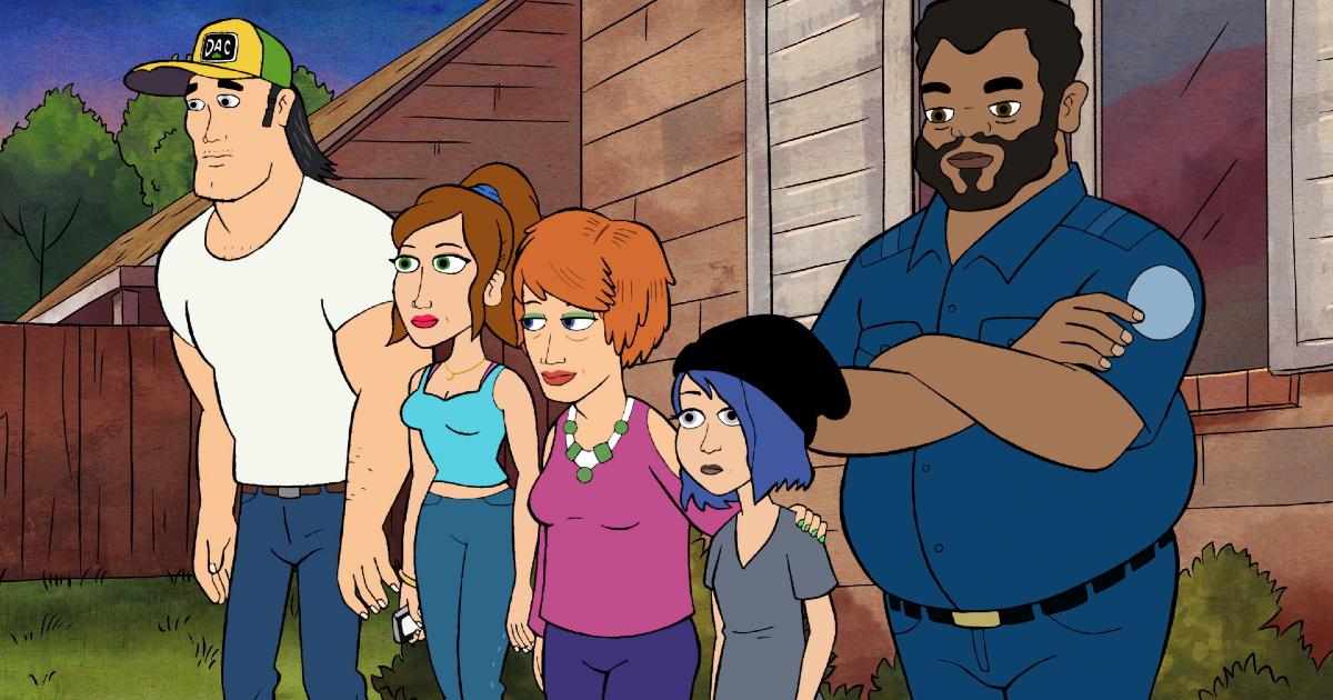 la famiglia harts è in piedi davanti casa con un amico - nerdface