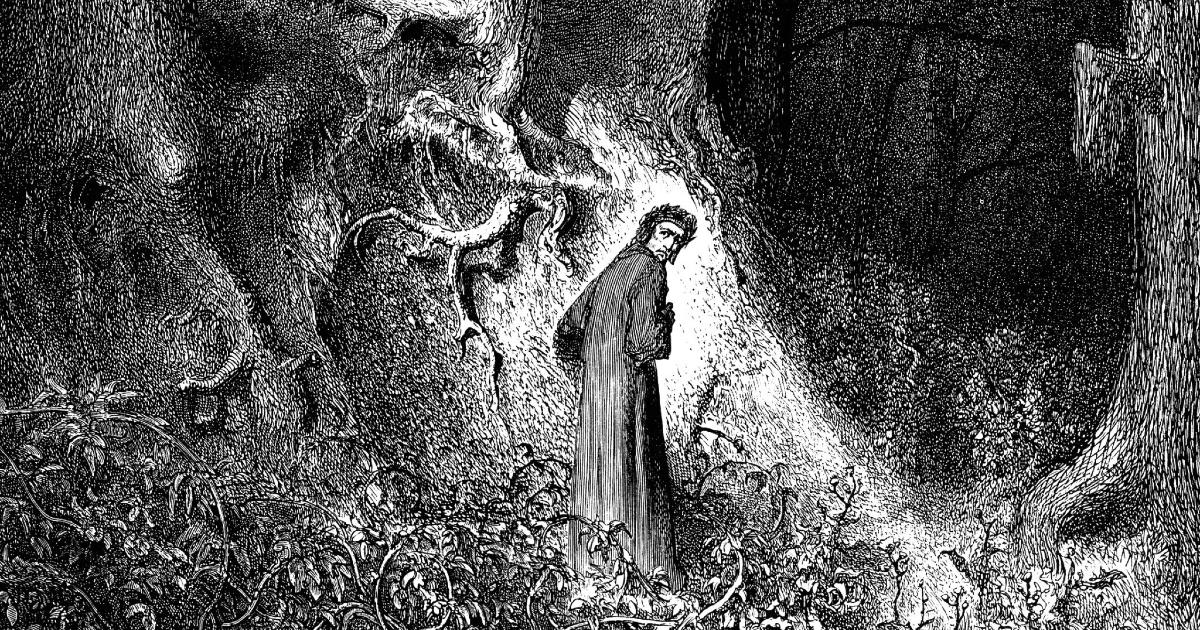dante alighieri rappresentato da gustave doré mentre entra nella celebre selva oscura - nerdface