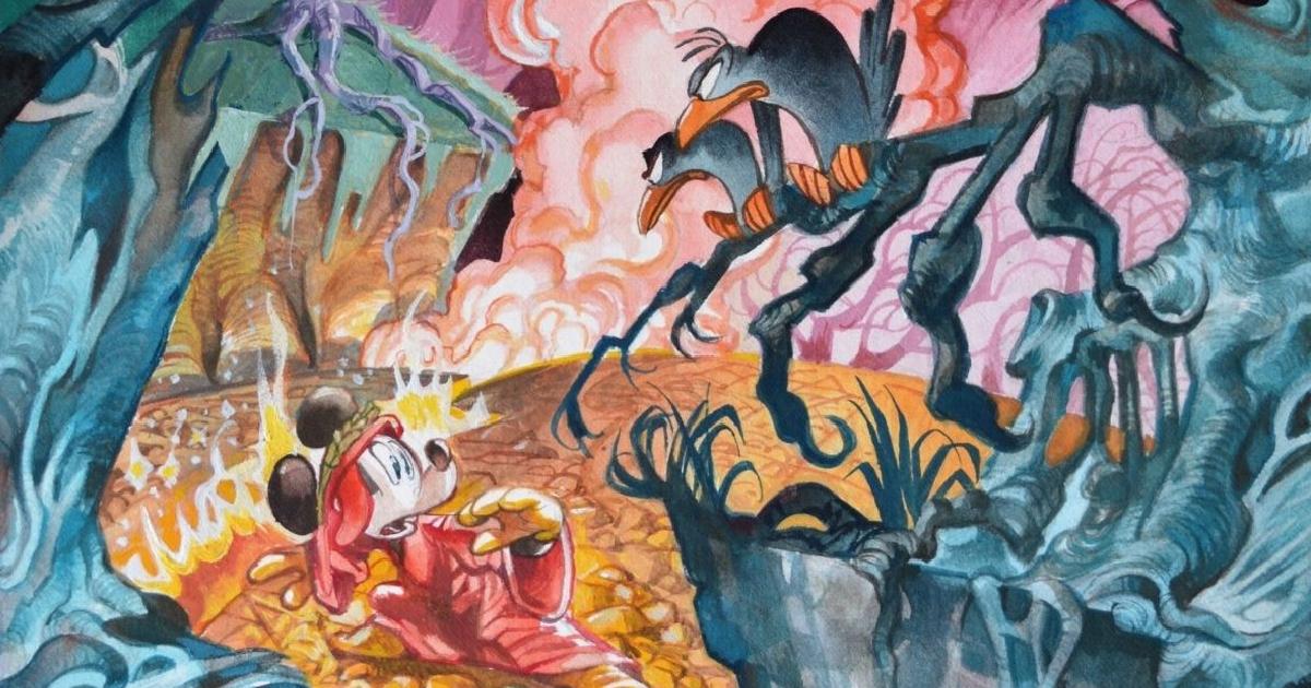 topolino è all'inferno vestito da dante e si spaventa guardando due corvi appollaiati - nerdface