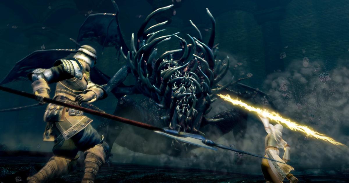 un cavaliere sta per morire contro un mostro tutto punte - nerdface