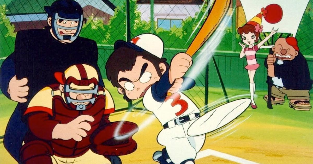 il giovane protagonista ha appena colpito la palla con la mazza - nerdface