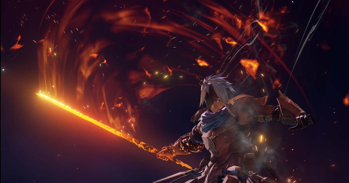 impugnando un bastone rovente, il protagonista sta per vedere cosa uscirà da un vortice di fuoco - nerdface