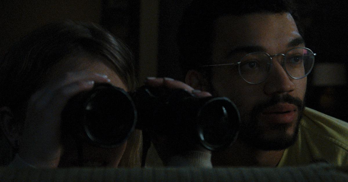 la coppia col binocolo guarda i vicini di casa - nerdface