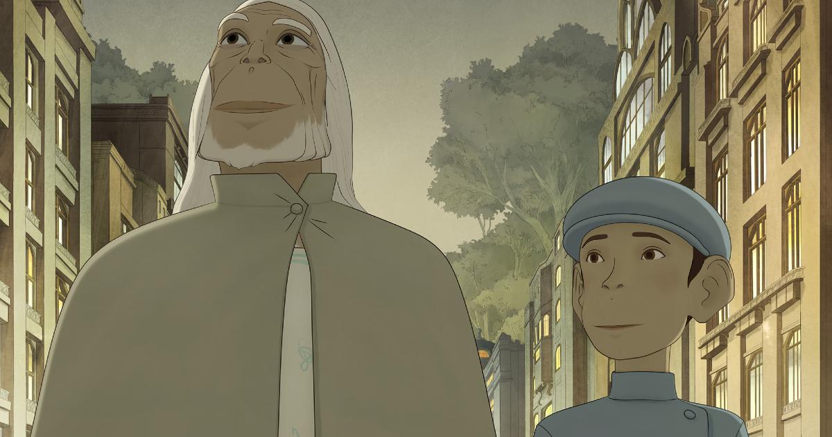 il vecchio e il bambino camminano sorridendo per strada - nerdface
