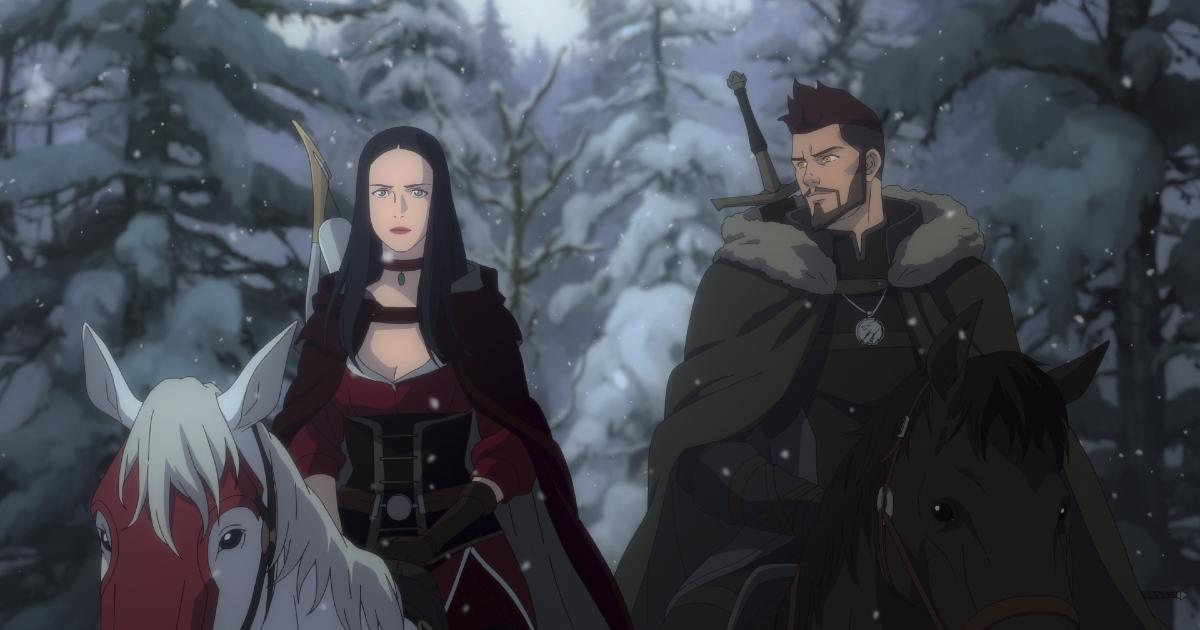 il protagonista è a cavallo e guarde la sua compagna di viaggio - nerdface