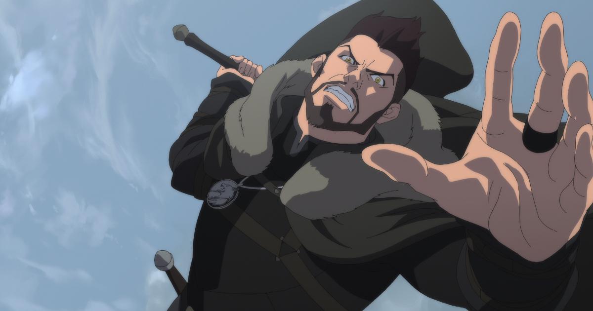 il maestro di geralt è in aria e sta per scagliare un attacco con la spada - nerdface