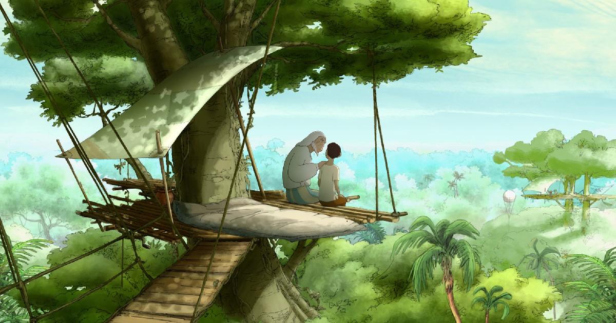 Un vecchio e un giovane guardano il panorama su una struttura lignea su un albero - nerdface
