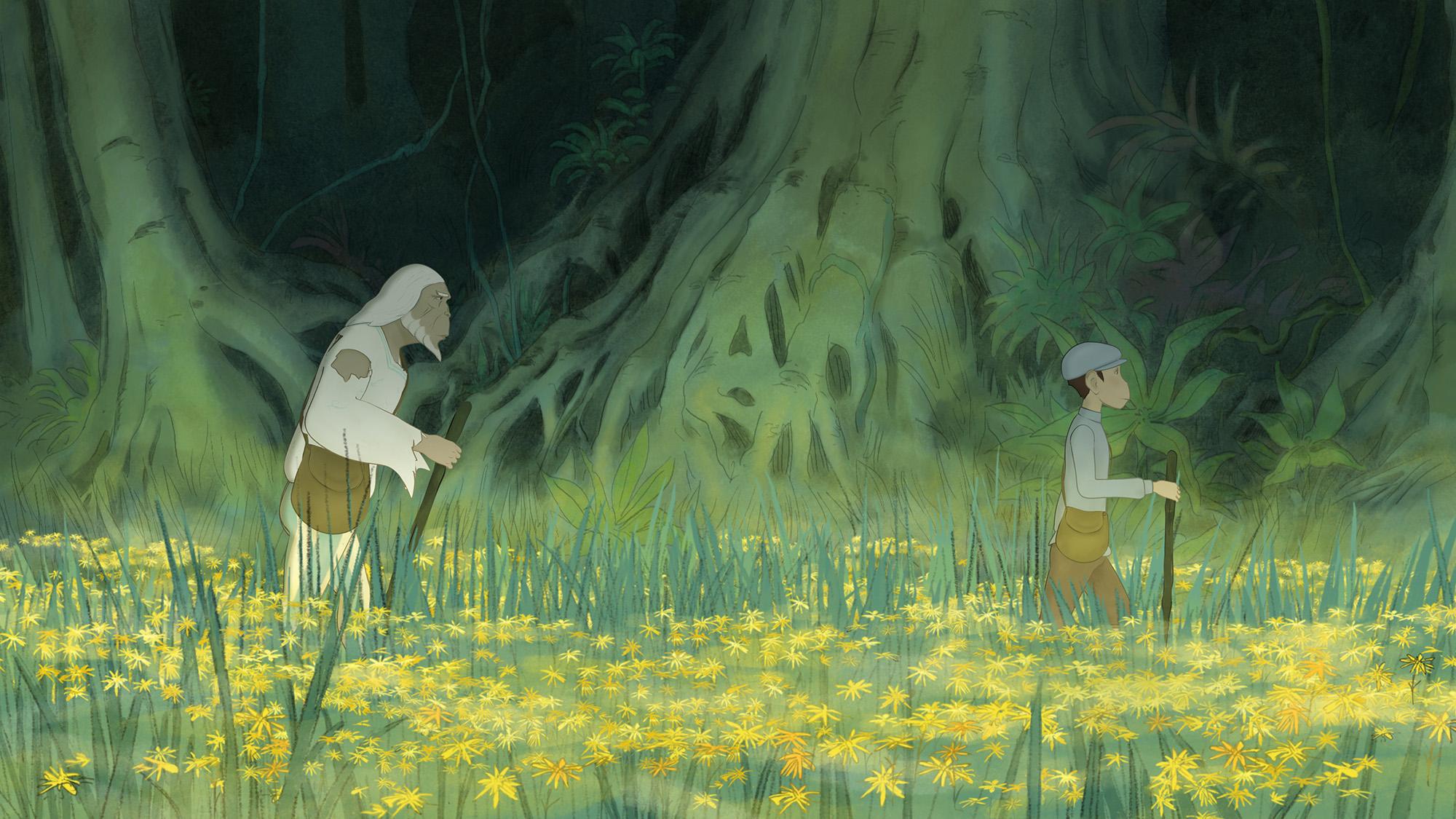 il principe è vestito di stracci e sta seguendo il giovane in mezzo a un prato fiorito di fiori gialli - nerdface