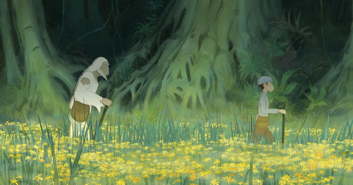 un vecchio segue un giovane in un prato fiorito - nerdface