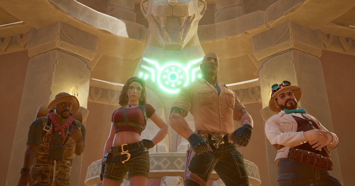 i quattro protagonisti del gioco in posa in un tempio - nerdface