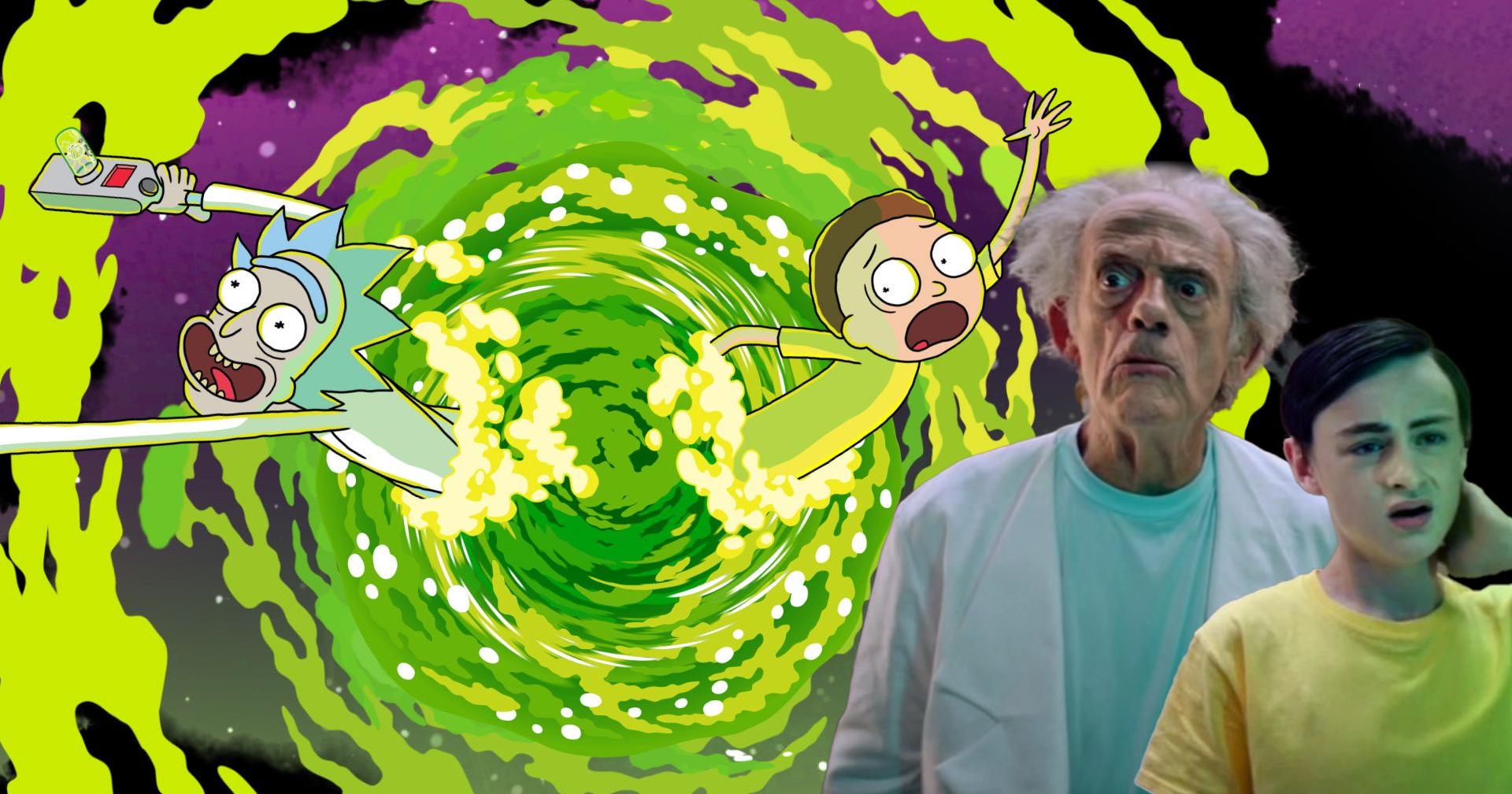 Rick e Morty osservano le loro controparti animate