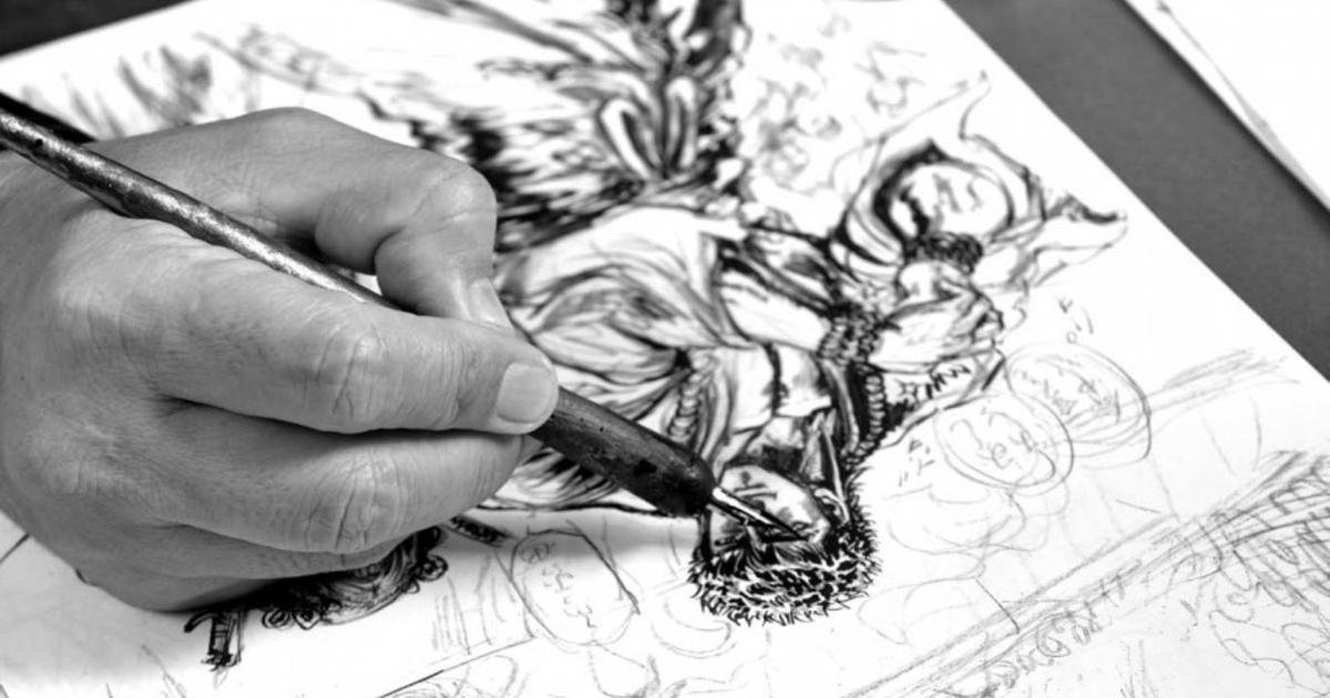 la mano di tesuo hara sta ripassando con la china un disegno di ken il guerriero - nerdface