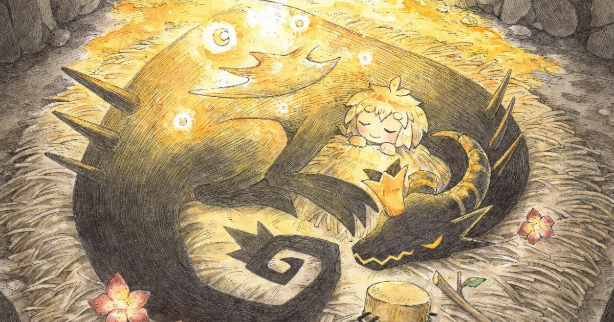 una bambina dorme sopra un drago acciambellato - nerdface