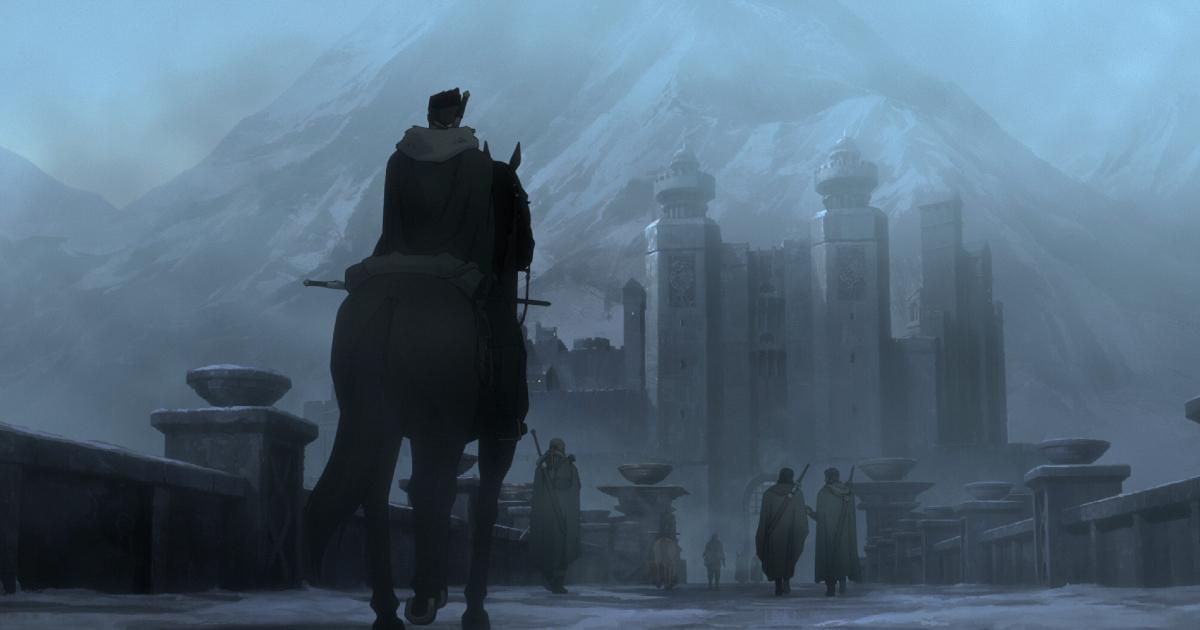 il protagonista è di spalle sul cavallo e sta arrivando a una città avvolta nella nebbia - nerdface
