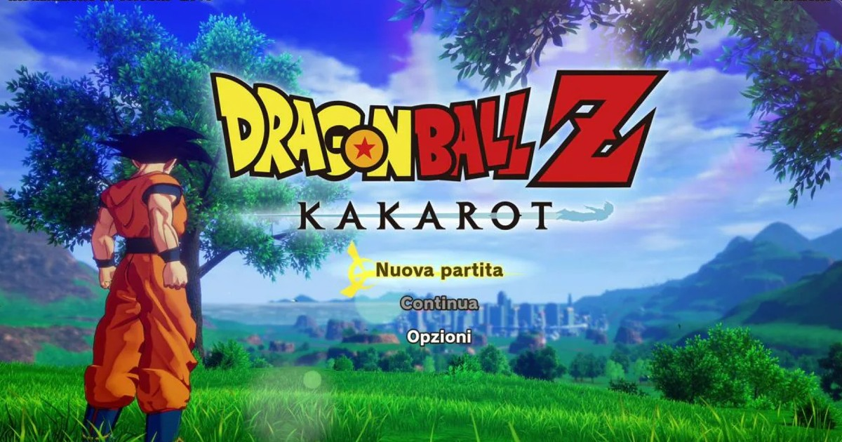 Trunks protagonista di Dragon ball z kakarot. schermata di accesso al gioco, con Goku di spalle che guarda una città all'orizzonte. Nerdface