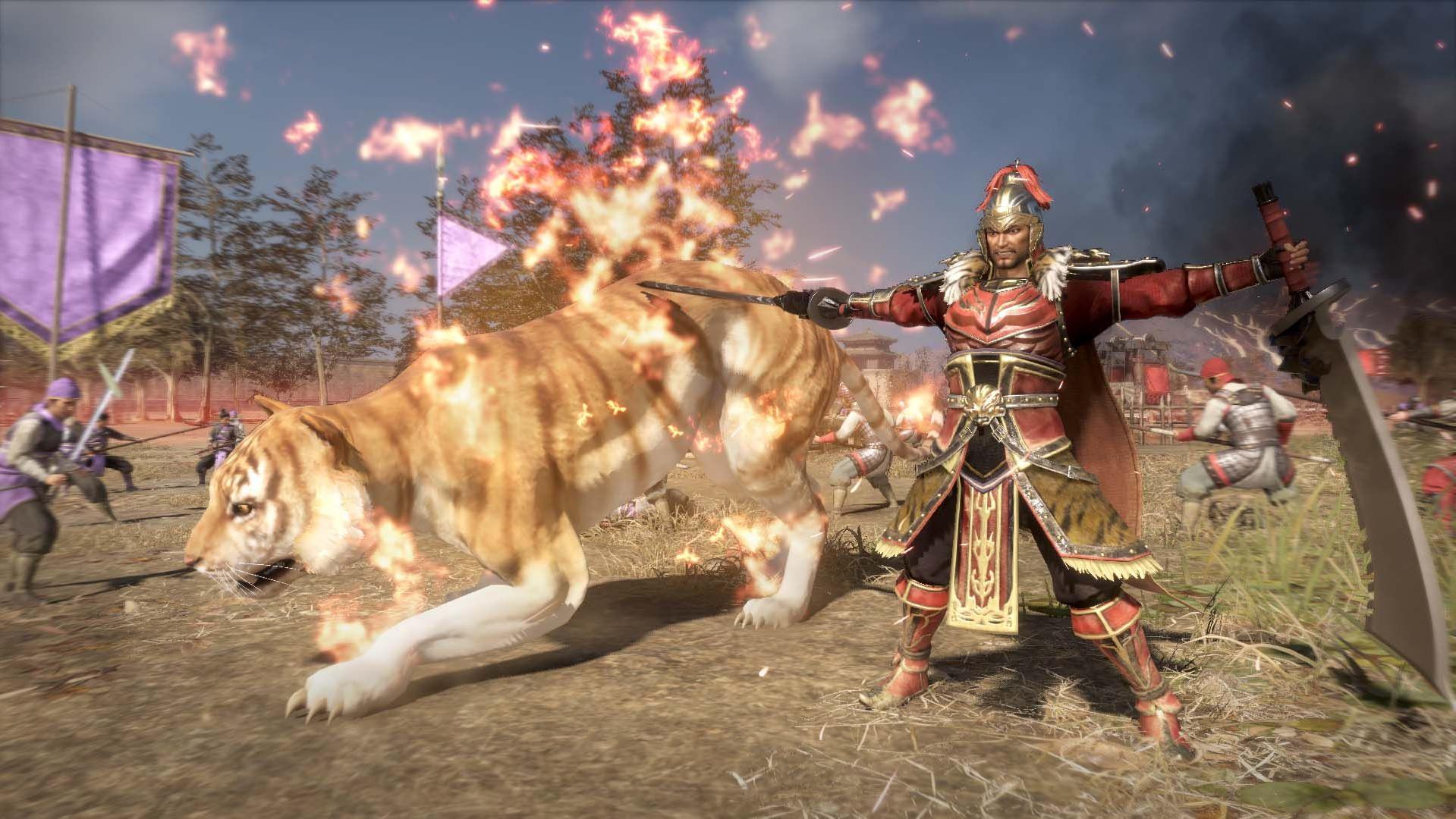 Un guerriero combatte al fianco di una tigre - nerdface