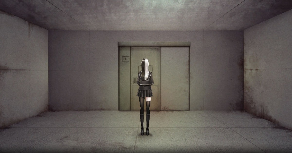 una ragazza con in capelli lunghi davanti al volto in piedi davanti a un ascensore - nerdface