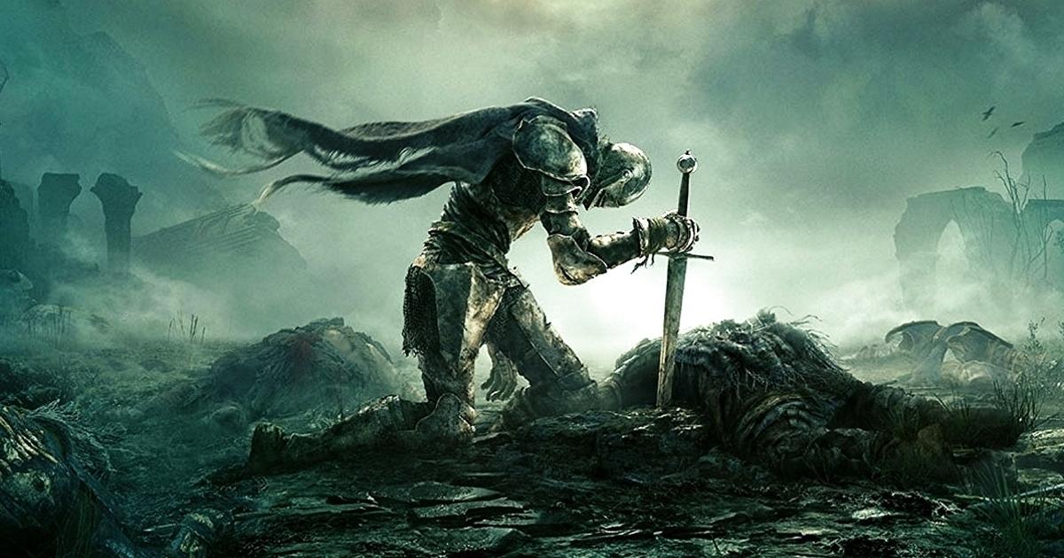 un cavaliere infila la spada a terra mentre si inginocchia - nerdface
