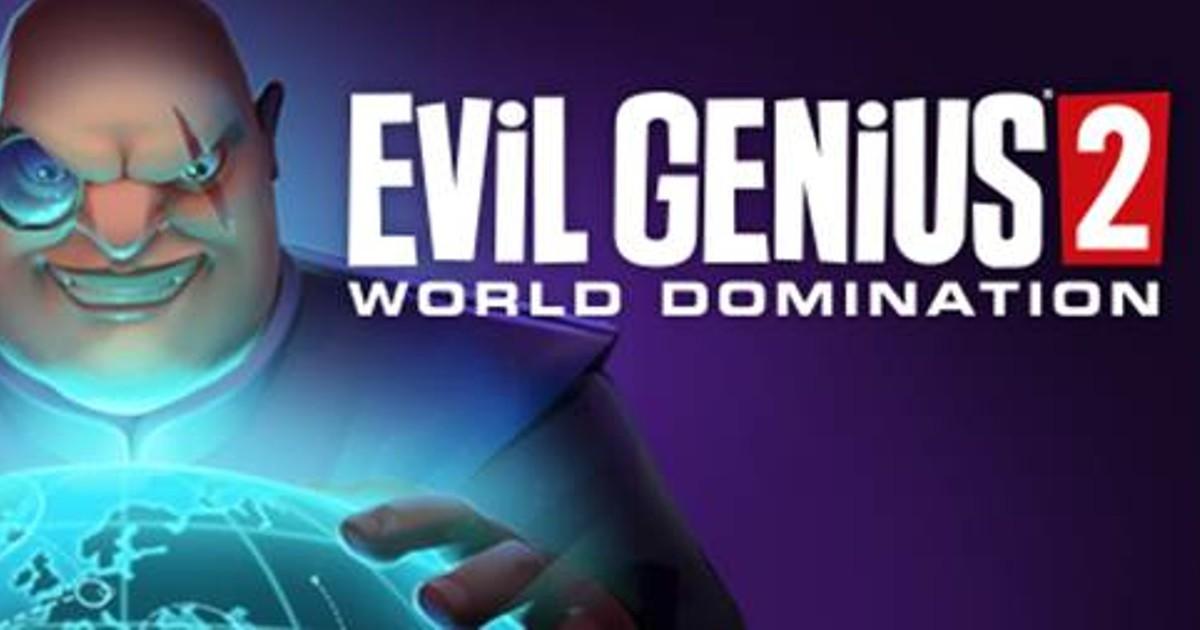 Evil Genius con in mano un mondo su sfondo blu, ghigna pronto per la conquista